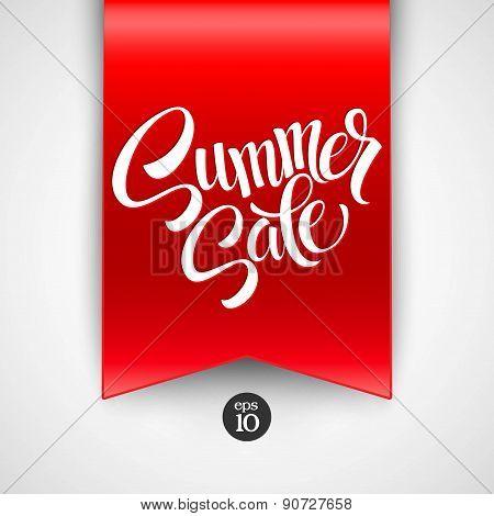 Summer sale. Ribbon label. Vector illustration