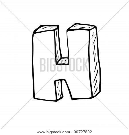 English Alphabet - Hand Drawn Letter H