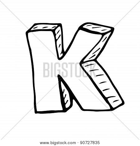 English Alphabet - Hand Drawn Letter K