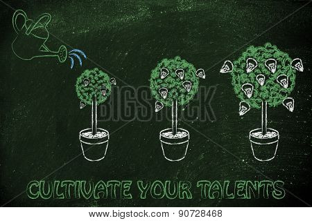 Watering Can Making A Idea Tree Grow Bigger, Metaphor Of Cultivating Your Talent