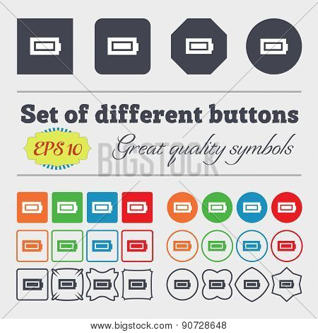 Battery Fully Charged  Icon Sign Big Set Of Colorful, Diverse, High-quality Buttons. Vector