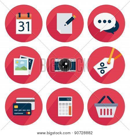 Set icons flat, calendar, edit, chat, photo, camera, discount, card, calc