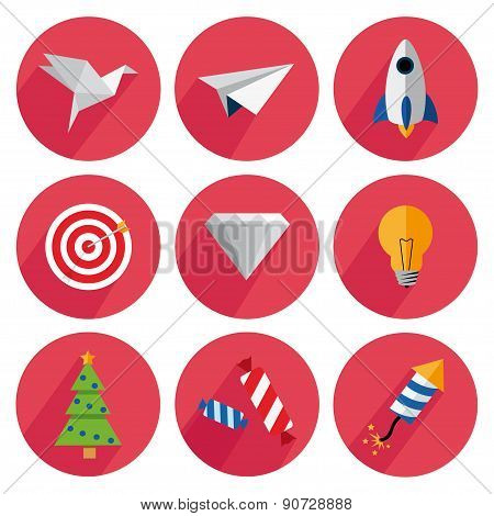 Set icons flat, origami, airplane, rocket, target, diamond, fir-tree, can