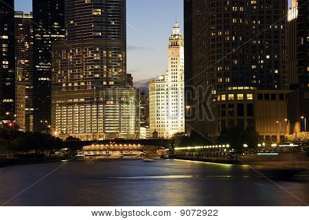 Wrigley Building Surrounded By Skyscrapers
