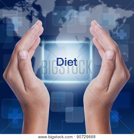 diet word on screen background. medical concept