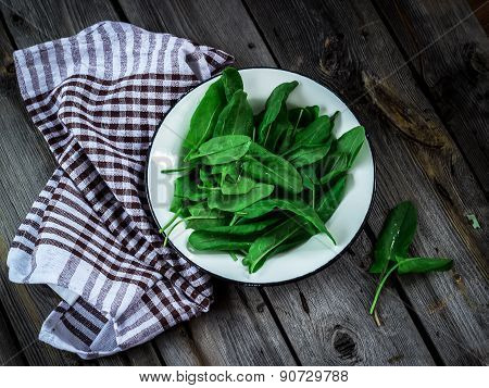 Garden Sorrel In A Bowl On Wooden Table. Style Rustic. .