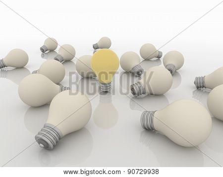 Group Team Of Light Bulbs, Idea And Solution Concept