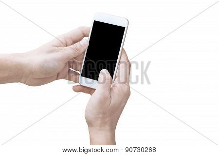Hand holding a smartphone