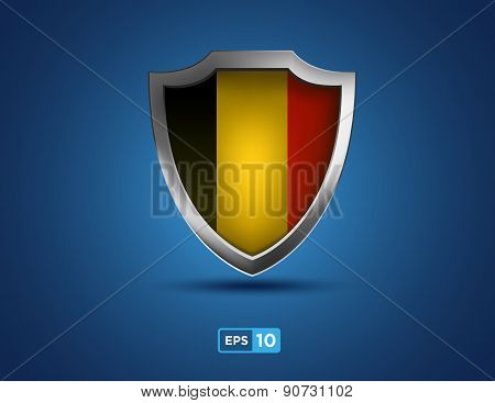 Belgium Shield On The Blue Background