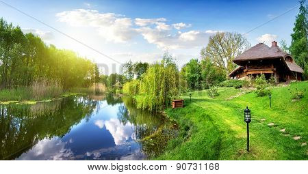 River and house of log