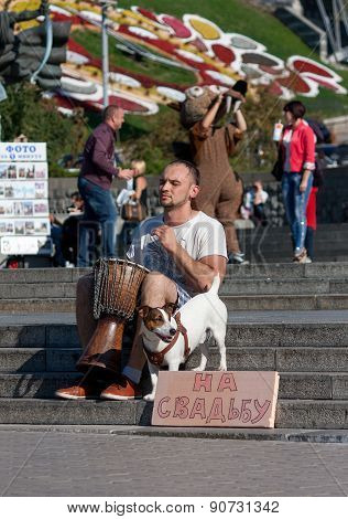 Ukraine, Kiev - September 10,2013: The Guy Playing The Djembe, Collecting Money For The Wedding