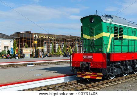 Locomotive On The Ways Of Train Station In Mogilev, Belarus