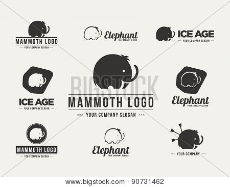 Mammoth Silhouette Vector Logo Set
