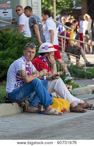 Donetsk, Ukraine - June, 11, 2012: British Fans Waiting For The Match At The European Championships