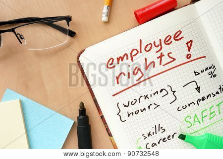 Notepad with words employee rights concept.