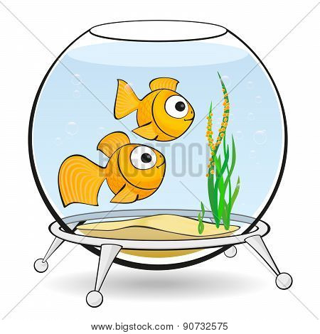 Couple Goldfish In An Aquarium With Caviar