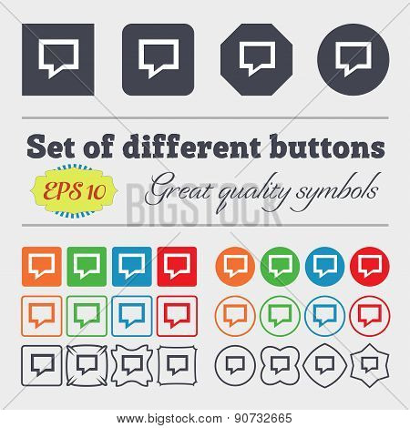 Speech Bubble, Think Cloud  Icon Sign Big Set Of Colorful, Diverse, High-quality Buttons. Vector