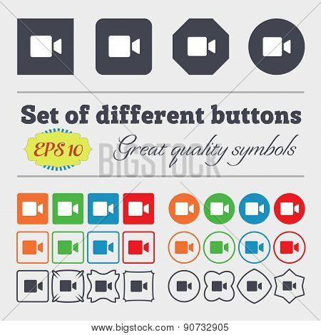 Video Camera  Icon Sign Big Set Of Colorful, Diverse, High-quality Buttons. Vector