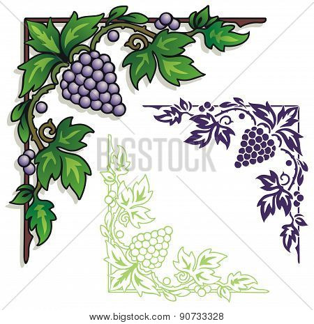grapes corner ornament