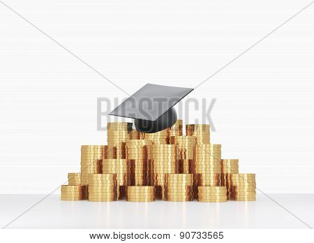 Graduation Hat Is Laying On The Coins Pyramid. A Concept Of A High Price For The University Educatio