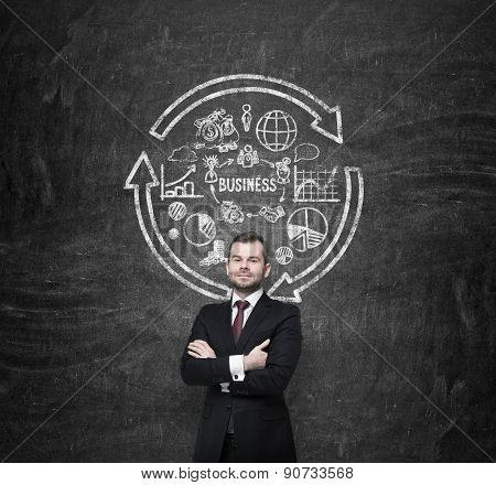 Businessman Is Presenting Business Development Strategy. Drawn Flowchart On The Wall.