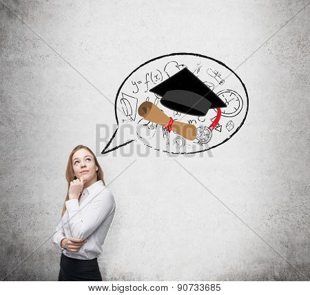 Beautiful Student Is Thinking About Graduation And Future Career.