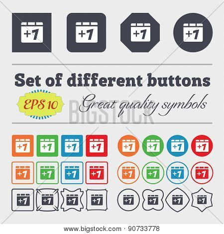 Plus One, Add One  Icon Sign Big Set Of Colorful, Diverse, High-quality Buttons. Vector