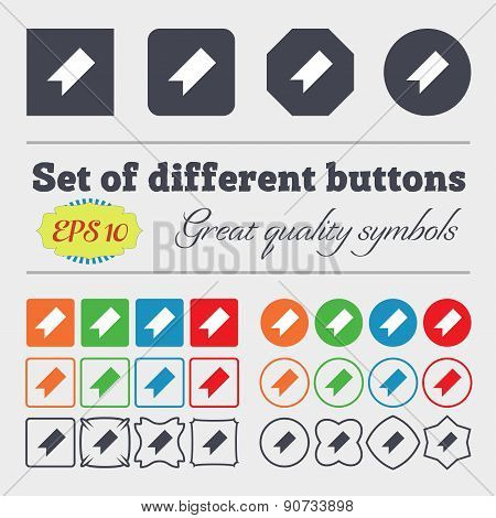 Bookmark  Icon Sign Big Set Of Colorful, Diverse, High-quality Buttons. Vector