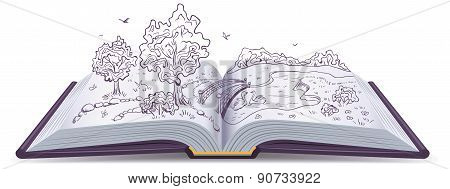 Meadow, River, bridge and trees in pages of an open book. Conceptual illustration
