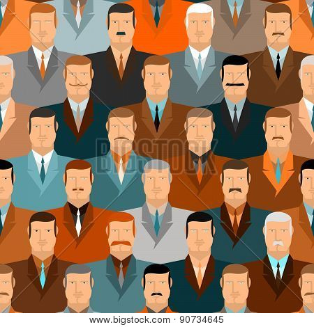 People seamless pattern. Men with moustaches and wearing costumes. Office workers.