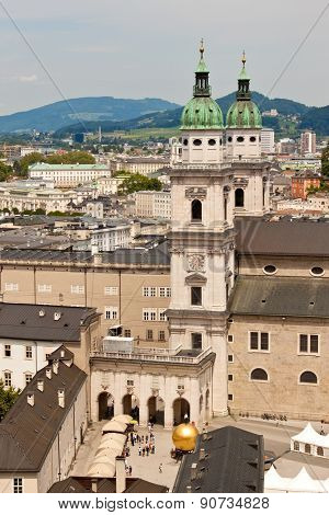 View Of Salzburg Cathedral And Kapitelplatz