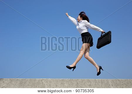 Successful Business Woman Jump