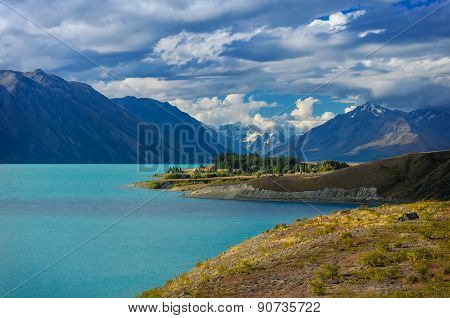 Beautiful Background From The Lake Tekapo