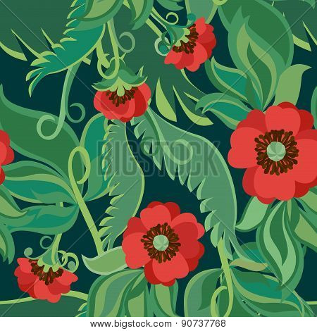 Bright Poppies Seamless Background