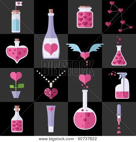 Love Chemistry Flat Icons Set