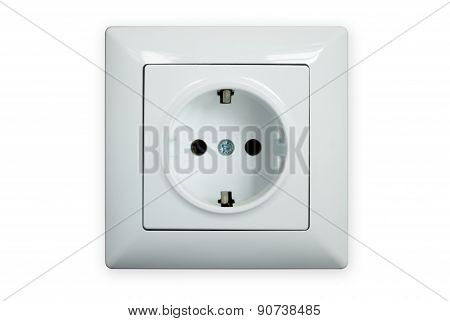 Electric Socket Isolated On A White Background