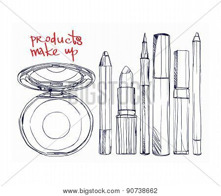 set of decorative cosmetics  powder, lipstick,