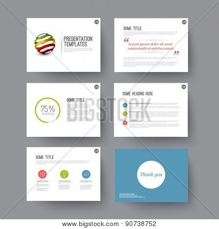 Vector minimalistic Templates for presentation slides with some sample content
