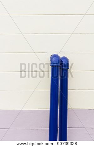 Blue Industrial Pipe On The Wall