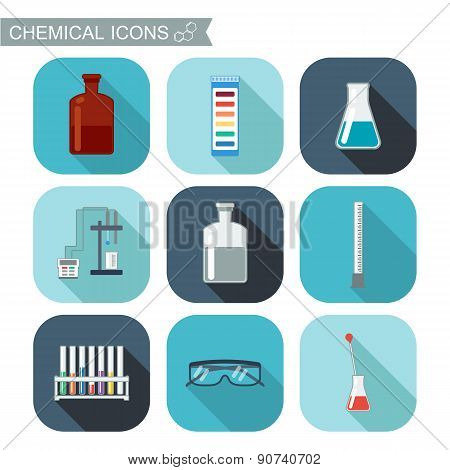 Chemical Icons. Flat Design With Shadows. Chemical Laboratory, Chemical Glassware. Vector