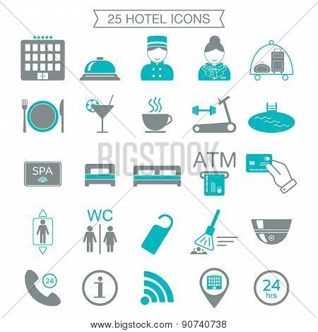 25 Hotel Services Icons. Silhouette. Color Block. Isolated. Vector