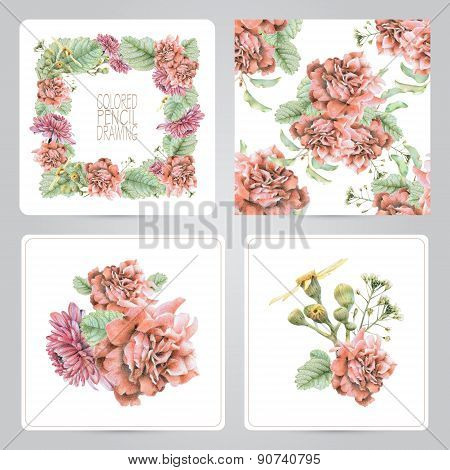 Set Of Frame, Pattern, And Illustrations With Spring Flowers