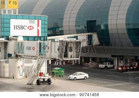 DUBAI, UAE - MARCH 10, 2015: Dubai International Airport. It is an international airport serving Dubai and a major airline hub in the Middle East, and is the main airport of Dubai.