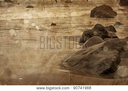 Beautiful water of the ocean and rocks background, summer bea