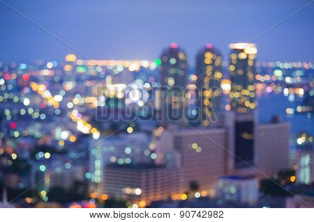 City night lights blurred bokeh background