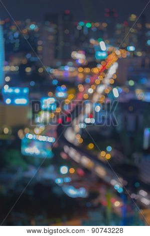 Abstract blur bokeh city bridge at night