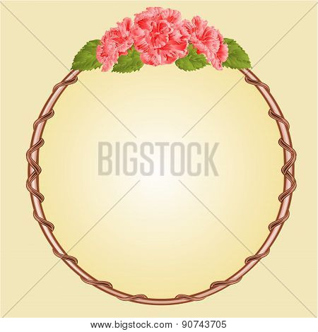 Round Frame With Pink Hibiscus Vector