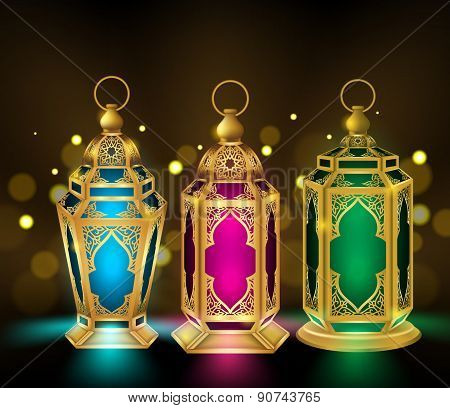 Set of Elegant Ramadan Kareem Lantern or Fanous