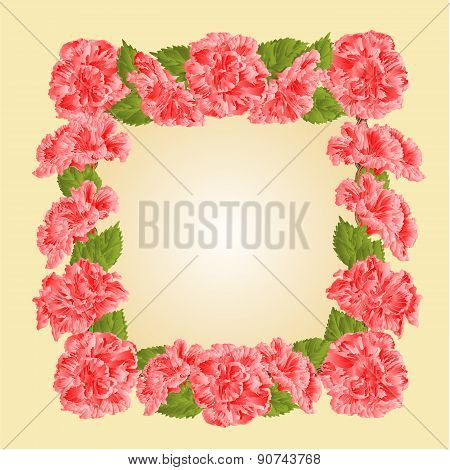 Frame With Pink Hibiscus Vector