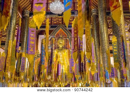 Chiang Mai, Thailand - November 17, 2013: Brightly decorated Buddhist temple in Chiang Mai, Thailand